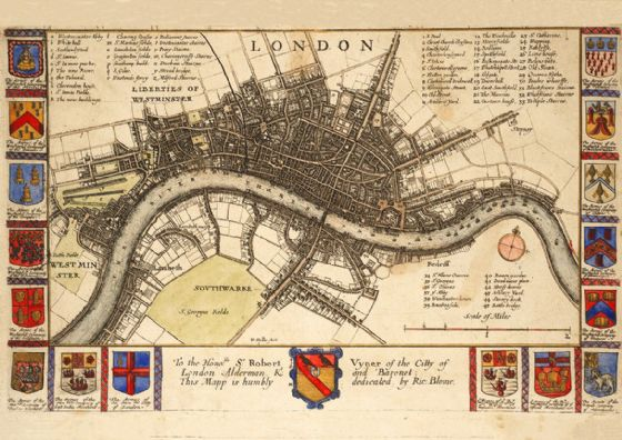 Map of London, England. Before the Fire (17th Century) by Wenceslaus Hollar. Print/Poster (5271)